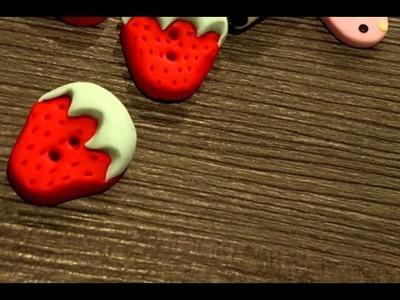 Erdbeere Knopf Fimo DIY Tutorial