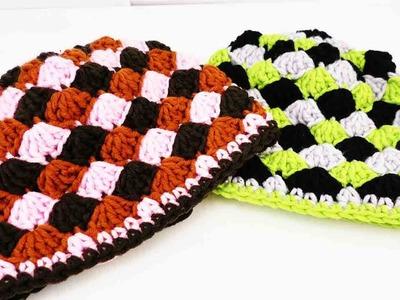 Muschel Mütze häkeln | Auffällige Mütze selber machen | 3-farbige Wintermütze