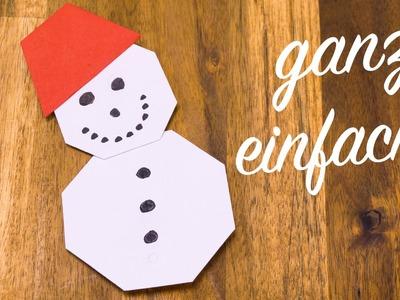 Schneemann falten kinderleicht, Basteln mit Papier für Weihnachten
