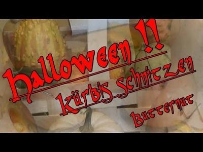 Halloween! Butternut Kürbis schnitzen ! Herbst Dekoration! DIY !!