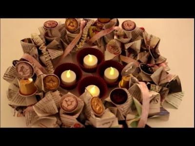 DIY: Weihnachten und Advent: Adventskranz aus Zeitungen, Kaffeekapseln basteln * Upcycling *