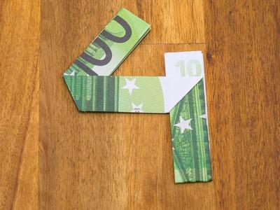 Geldschein falten Zahl 4 - Origami Geldgeschenk Tutorial - Nummer 4.10