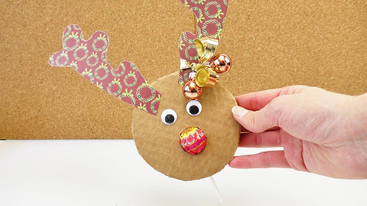 Rentier Geschenk Basteln – Niedliche Weihnachts Geschenkidee – Mit Chupa Chups und lustigen Ohren