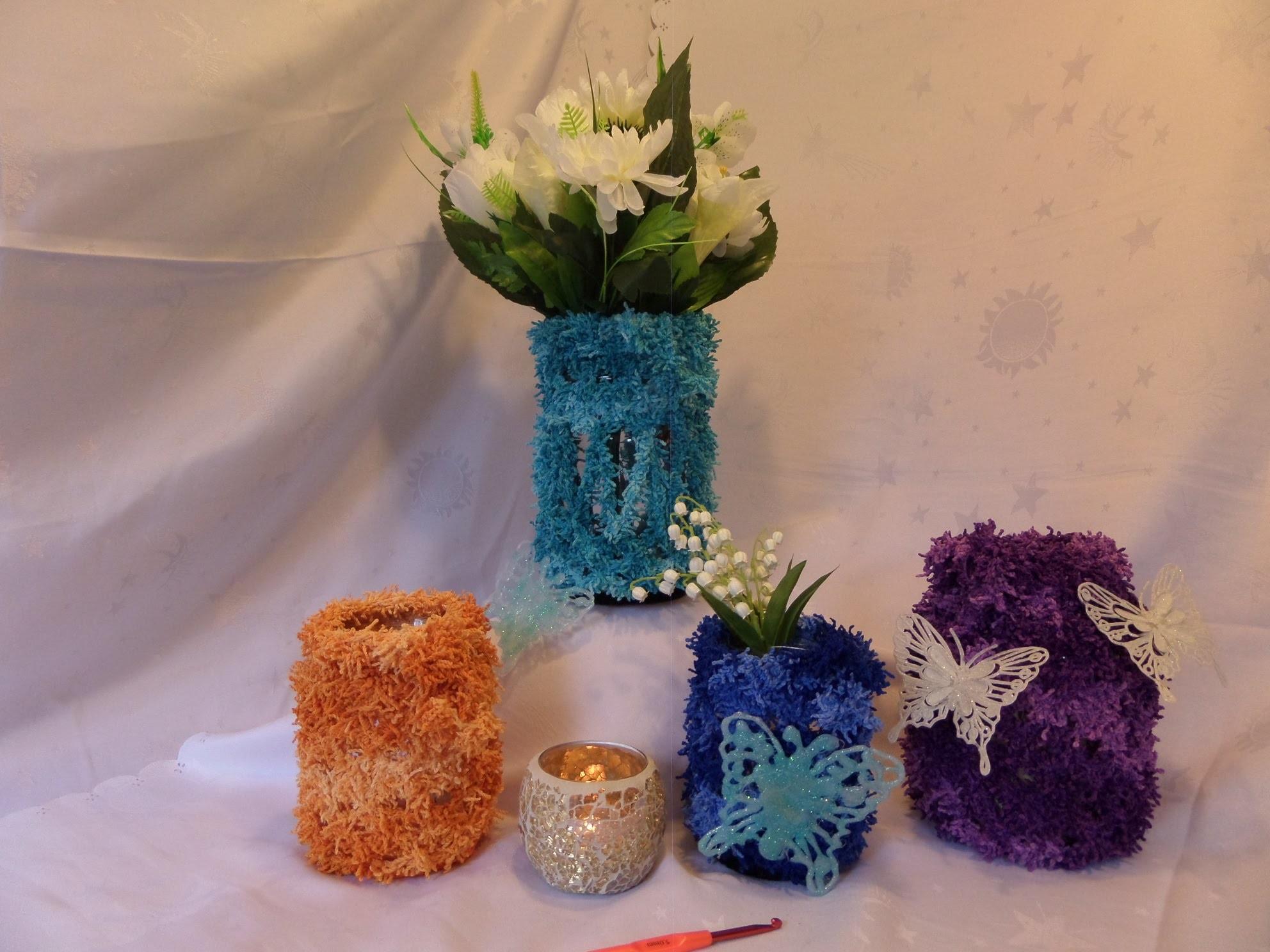Diy keka bunte deko gl ser vasen windlichter h keln - Geschenk dekorieren ...