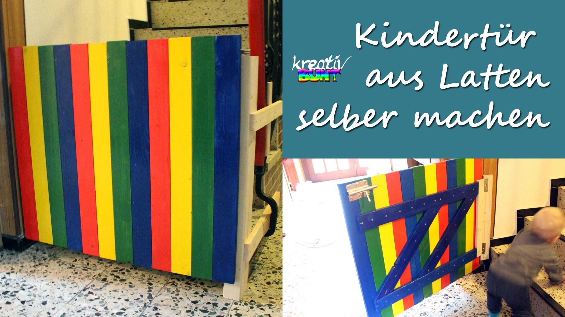 DIY Handwerken Holz: Kindertür zum Treppenschutz aus Holzlatten selber machen | kreativBUNT