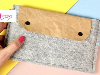Tablettasche. Laptoptasche aus Filz und Snappap nähen - DIY Eule