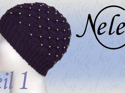 Mütze stricken, Strickmütze mit Perlen eingearbeitet, DIY Anleitung by Nele C., Teil 1