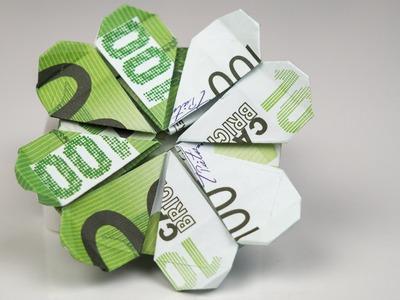 Geldgeschenk Geburtstag: Kleeblatt aus Euro Geldscheinen falten