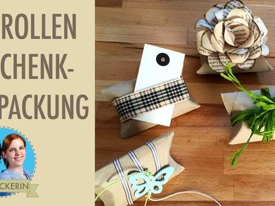 Geschenkverpackung aus Toilettenpapierrolle DIY