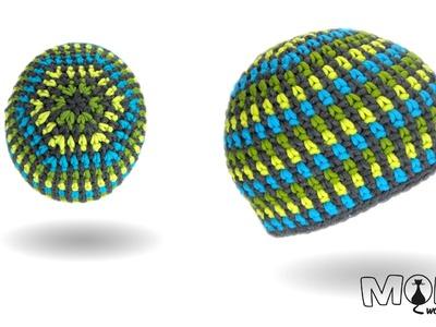 Mütze häkeln - Moss Stitch Beanie No. 3 - Stripes