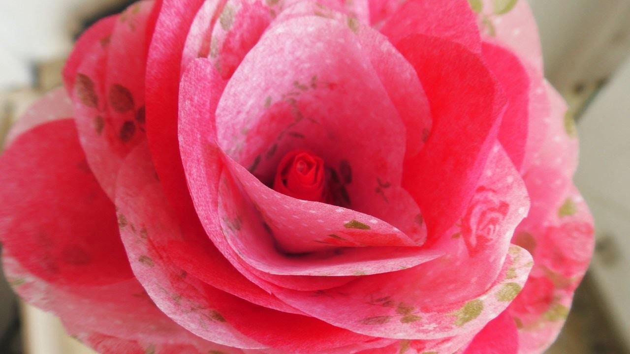 Rose selber machen   Dekoration fürs Zimmer aus Papier   Tolle Deko Idee mit DIY Blumen