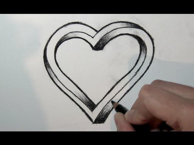 Wie Zeichnet Man Ein 3d Herz Mit Bleistift Online Zeichnen Lernen