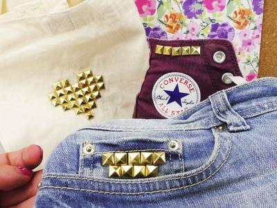 3 Ideen mit Nieten | Taschen, Chucks & Jeans-Shorts | süß & schnell Kleidung verschönern