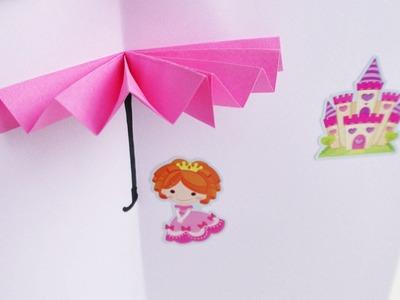 3D Regenschirm Bild zum selber bauen | Origami | Deutsch | basteln