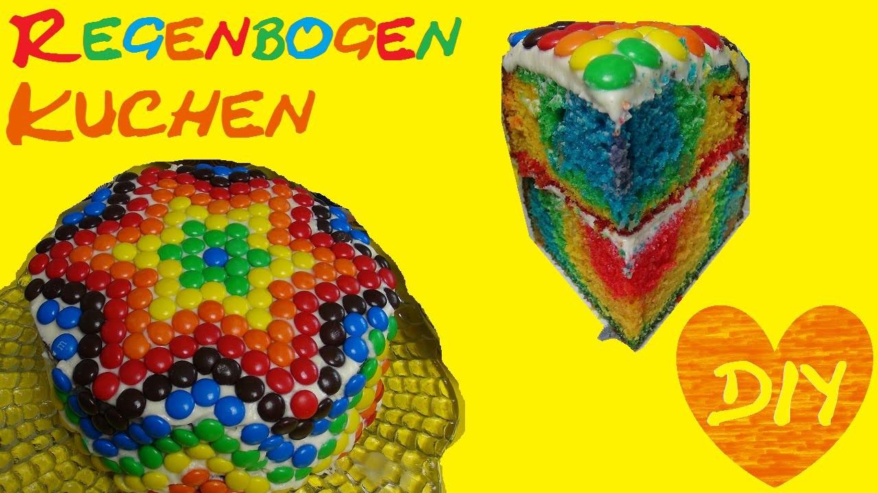 Regenbogentorte mit M&M's Stern backen Kuchen Geburtstagstorte rainbowcake Eva backt