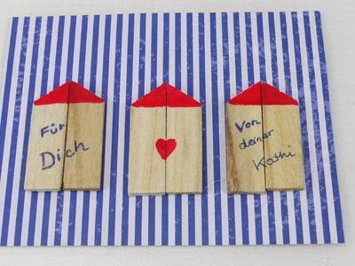 Süße Postkarte mit Häusern selber machen | Postkarte selber gestalten mit Holz | Urlaub