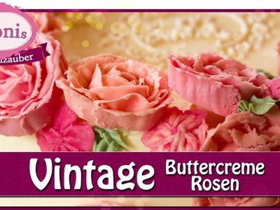 Vintage-Rosen aus farbiger Buttercreme. Blumen & Blüten. Tonis Tortenzauber #0016