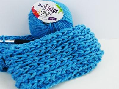 Doppel Loop für den Frühling häkeln | schöner lockerer Schal in himmelblau | Übergangszeit