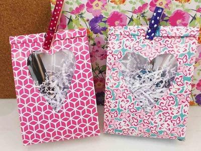 Geschenktüten mit Herzfenster | Geschenke kreativ verpacken | Tolle Geschenkverpackung selber machen