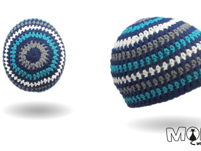Mütze häkeln mit unsichtbaren Rundenabschluss v3 - Ringelbeanie häkeln