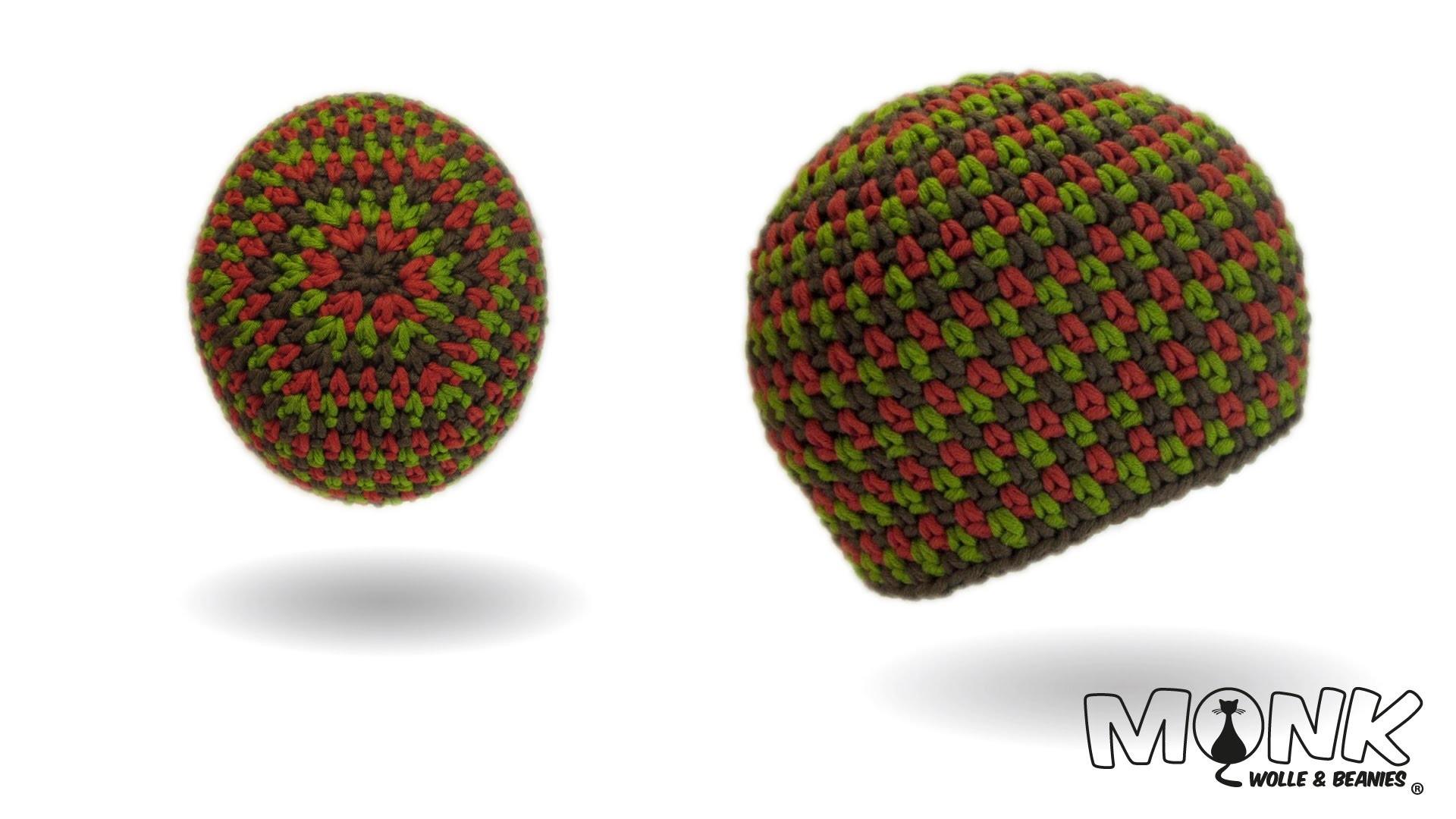 Mütze häkeln - Moss Stitch Beanie No. 2 - Tweed Style