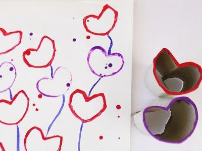 Stempel doch mal! Herz Stempel aus Papprolle basteln – Süße Bilder pressen – Streetart Anfänger Demo