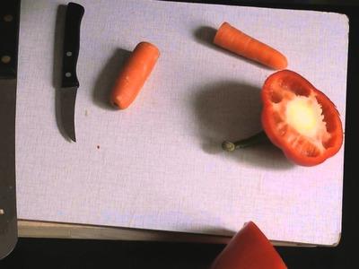 Gemüse Instrumente Die Paprika Trompete basteln Musik instrument aus Gemüse Do it yourself veggie