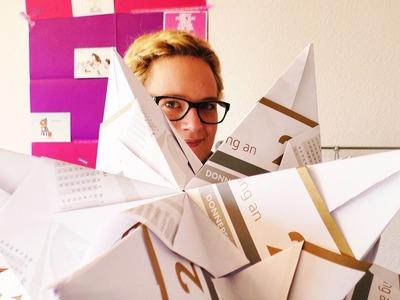 Super großer Bascetta Stern | Eva baut einen mega Origami Stern auf | 42cmx42cm Papier