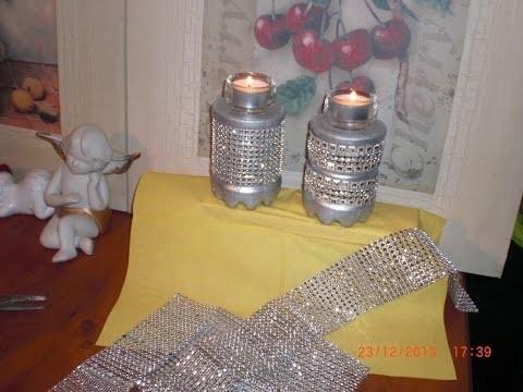 DIY - Last Minute - Teelichthalter Silvesterdeko mit Strass - aus Beton oder Gips