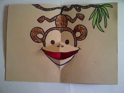 Tutorial. 3D Pop-Up Grußkarte mit einem Affen, dem Symbol des Jahres 2016 basteln