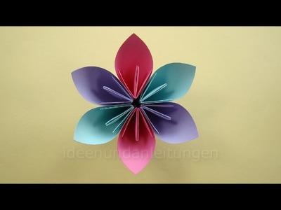 Blumen basteln mit Papier - Basteln mit Kindern - Einfache Origami Blume falten - DIY