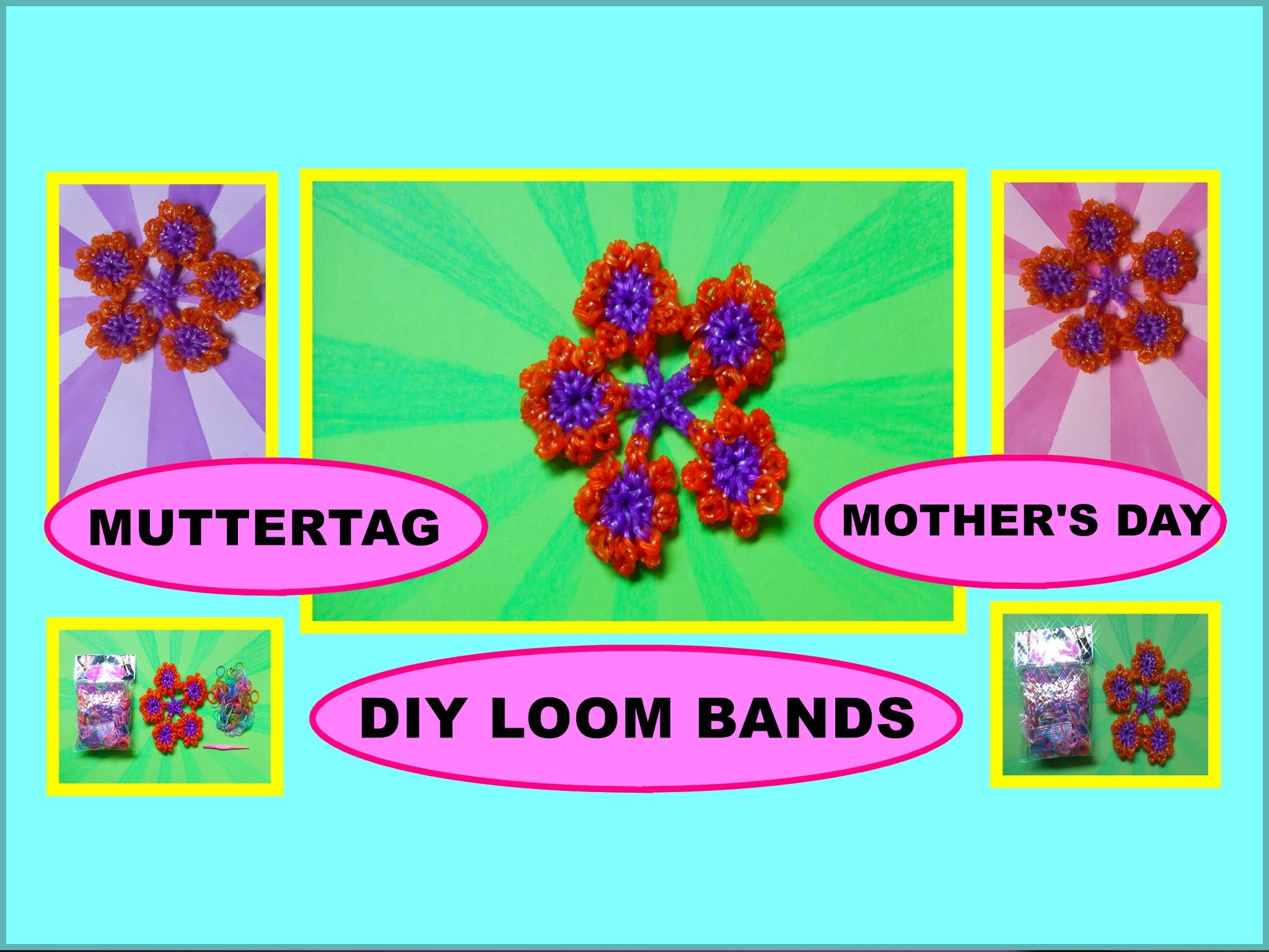DIY LOOM BANDS Blumen, Geschenk zum Muttertag, Flower, Gift Ideas for Mother's Day
