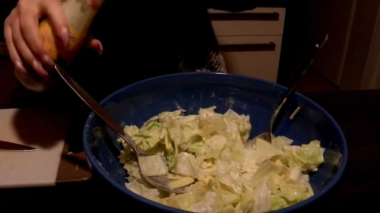 Long nails in the kitchen making salad part3