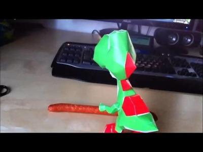 Yoshi papercraft eating lecker Wurst!