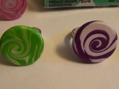 Tuto Fimo Ringe mit Swirlmuster Polymer Clay Schmuck Design