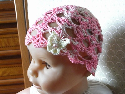 Baby Sommer Mütze Häkeln m. Ajourmuster* Baby hat crochet*Tutorial Handarbeit