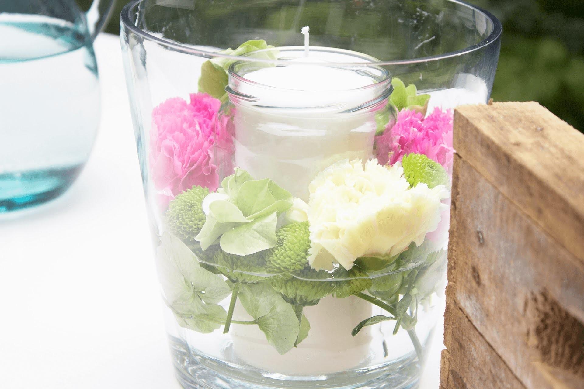 DIY   bloomiges Kerzenglas für kühlere Sommerabende