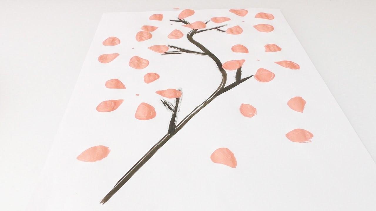 Blühenden Kirschbaum mit PET-Flasche stempeln | Schönes Bild für Zuhause