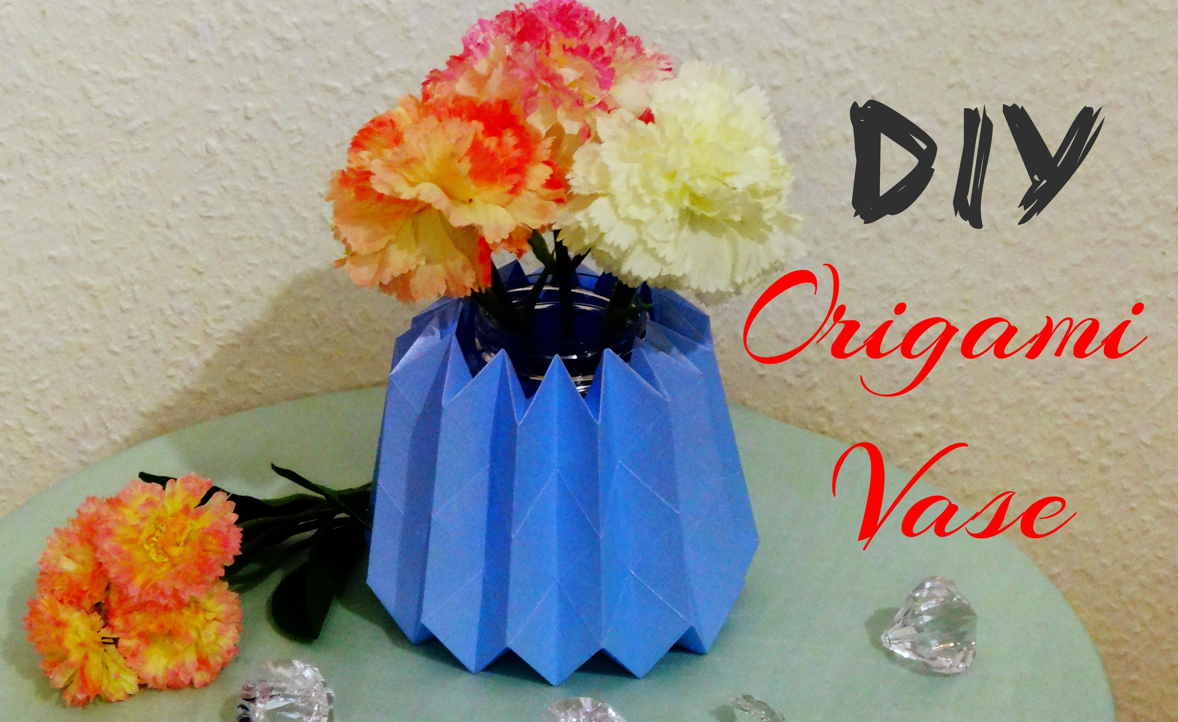 diy origami vase tutorial. Black Bedroom Furniture Sets. Home Design Ideas