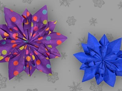 Origami Schneeflocke: Snowflake - Faltanleitung (Live erklärt)
