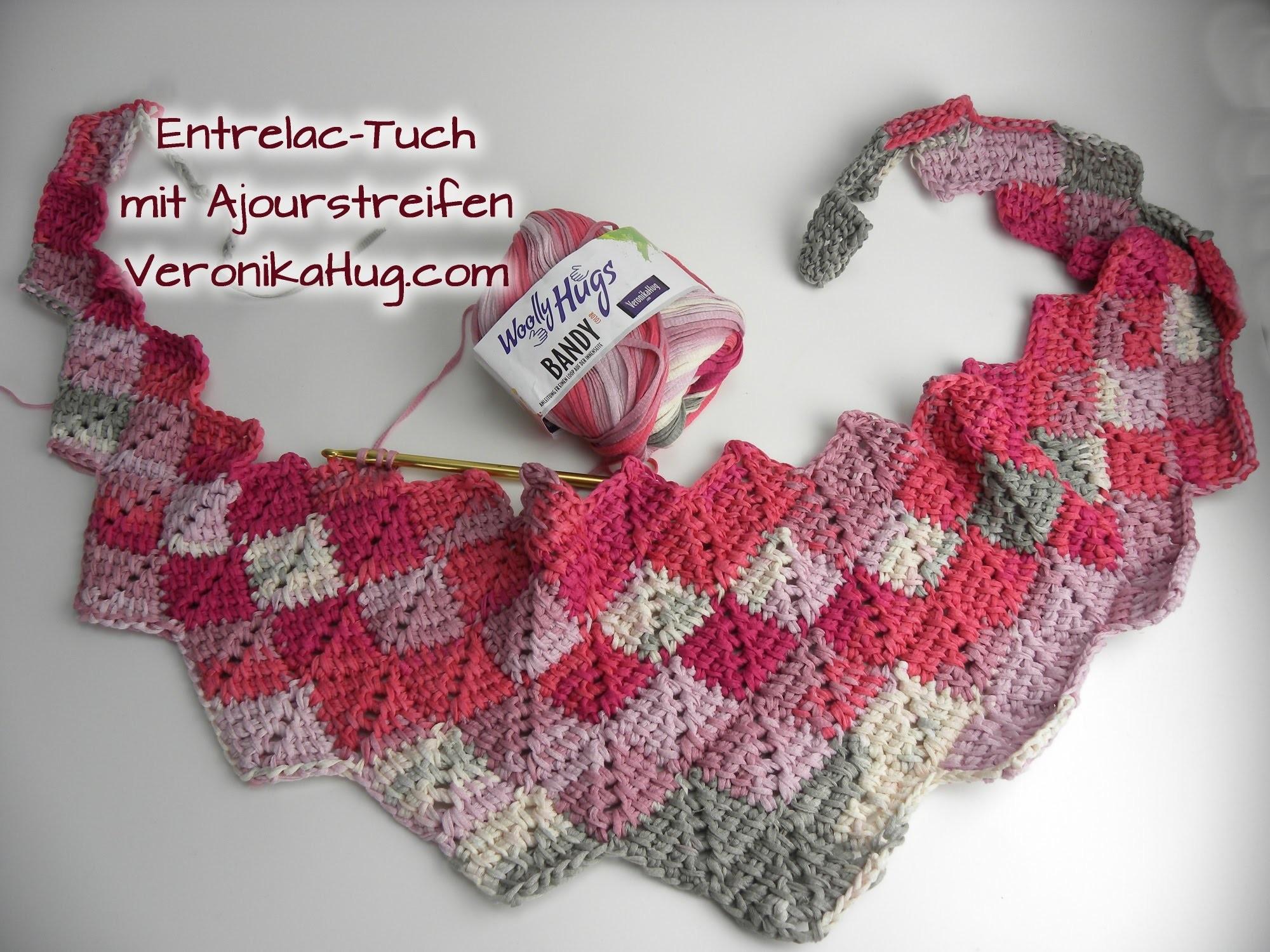 Häkeln Entrelac-Tuch -  Woolly Hugs BANDY Veronika Hug - Teil 1