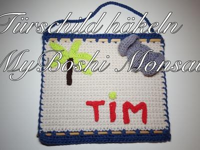 Türschild häkeln für das Kinderzimmer MyBoshi Monsatu