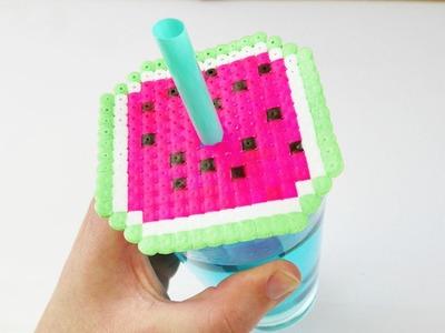 Sommerlicher Wassermelonen Getränke Schutz aus Bügelperlen | Insekten Deckel basteln
