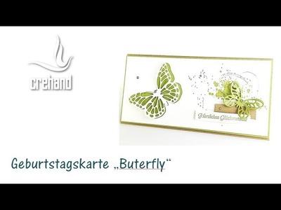 Geburtstagskarte mit Schmetterlingen für Frühjahr und Sommer mit crehand und Stampin' Up!
