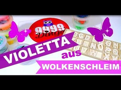 Violetta aus Wolkenschleim Foam Clay | Holzbuchstaben mit Wolkenschleim verschönern