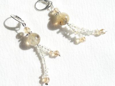 DIY Perlen Ohrringe mit Steinsplitter selber basteln
