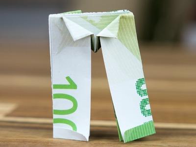 Geldgeschenk Idee: Geldschein Hose falten, Origami-Anleitung