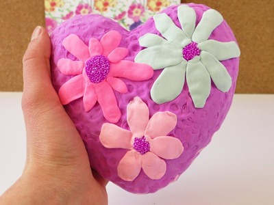 DIY Frühlingsherz mit Wolkenschleim und Seidenknete | Silk Clay & Foam Clay Deko mit Blumen