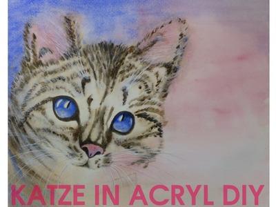 Katze in Acryl malen DIY