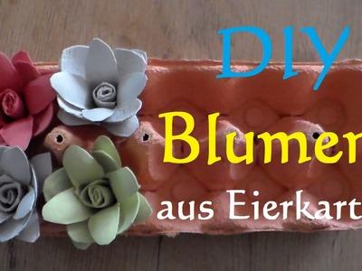 ❀ DIY Blumen aus Eierkarton basteln - Rosen aus Eierkarton selber machen ❀ make egg carton flowers